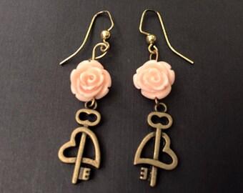 Handmade Roses and Keys Earrings