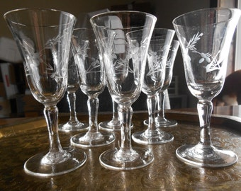 Crystal Etched Cordial Stemware /  Set of 8