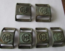 6 Vintage  Buckles  Mc McConnell Brass Saddle Harness Buckle