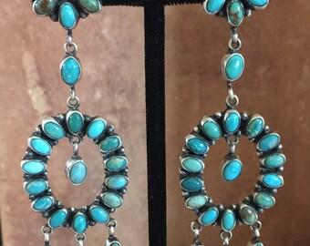 Large Native American Turquoise Dangle Earrings