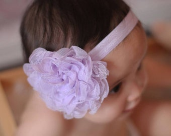 baby headband - lavender flower headband - lace headband - infant headband - baby headband - headband - girls headband - hair band - purple
