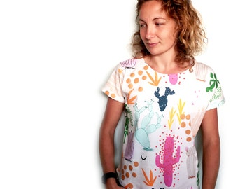 Tropical Cactus Garden Garden 100% organic cotton jersey ladies sleeve top