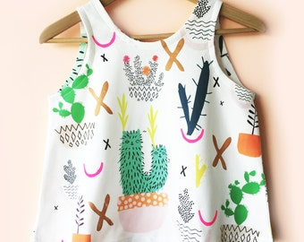 Pot Plant Cactus Garden 100% organic cotton jersey ladies sleeveless top
