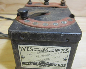 Antique Ives Toys Transformer No. 203 for Ives Electrical and Mechanical Trains With Original Wiring * Untested