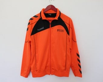 HUMMEL Sports Jacket Orange Anorak Vintage Classic Hummel Track Jacket Active wear Ashram Jacket   Medium size