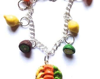 polymer clay fruit and tart bracelet