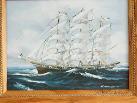 Sailboat Painting K Maskell Clipper Ship Oil Painting Framed