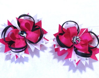 "Monster High- set of hairbows - 5"" with french clips- Free shipping."