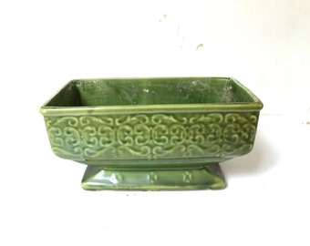 Green Planter, Ceramic Indoor Planter with Green Glaze