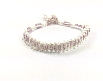 White and Light Lavender Bead Bracelet
