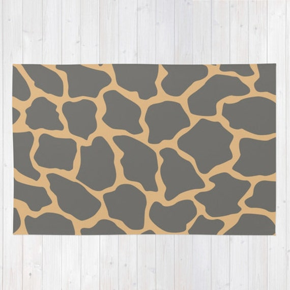 Rug. Animal Print Rug. Giraffe Print Rug. Grey By