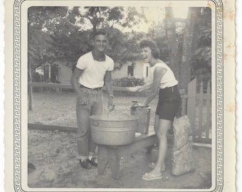 Texas Teens Making Ice Cream, 1960, Old Family Photograph