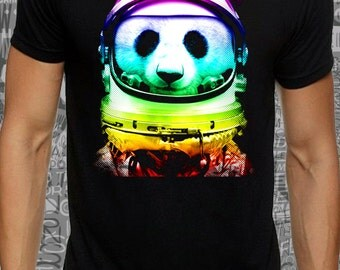 Men or women #colour #panda #astronaut print on black lose or tight #cotton #t-shirt available big sizes - dream tee