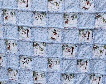 Snowman rag quilt | Etsy : snowman rag quilt pattern - Adamdwight.com