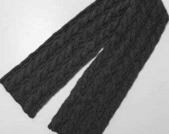 Handknit Reversible Grey Gray Scarf