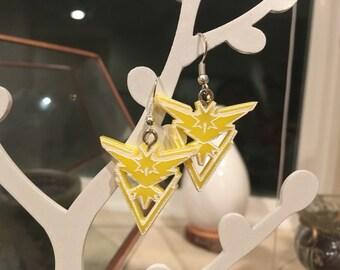 Pokemon Go! Team Instinct Earrings, Laser Cut