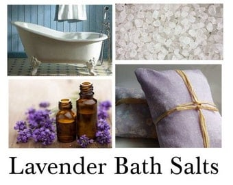 Lavender Bath Salts, Lavender Bath, Lavender Oil Bath - 16oz Bag