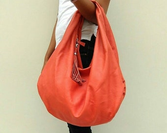 SUMMER SALE Large hobo Bag, orange soft leather hobo bag, leather hobo bag, boho bag, hobo bag large, orange leather bag, hobo bag, orange h