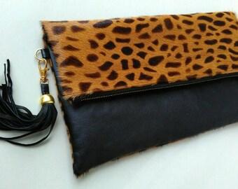 Leopard clutch with tassel, foldover clutch leopard print, fold over leather clutch, leopard calf hair fold ove clutch, leopard clutch