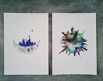 Galaxy Combination Set - Watercolor Art Print