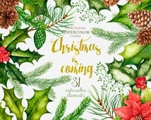 Christmas Watercolor Clipart, New Year decoration, Holiday hand painted clip art. DIY Invitations, Merry Christmas, Greeting card, PNG files