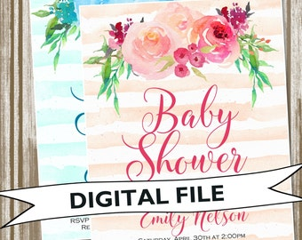 Watercolor Striped Floral Bridal or Baby Shower Invitation--PERSONALIZED DIGITAL FILE