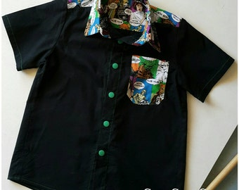 Boys TaDah Troop Shirt, Sizes 2 - 9. Star Wars Comic Book Cotton and Black Drill Cotton.