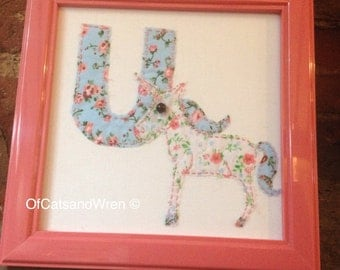 Unicorn Fabric Letter Embroidered Baby Name Initial - 'U is for Unicorn' - Patchwork Animal Alphabet ABC Vintage Letters Nursery Art