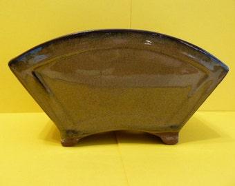 Planter, Redware, Army Green Color, Drip Glaze, vintage