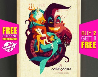 Disney Little Mermaid Ariel Prints, Ursula, King Triton, Vintage Poster, Baby Girl Room, Nursery Decor, Home Decor - FREE SHIPPING - 192s2g