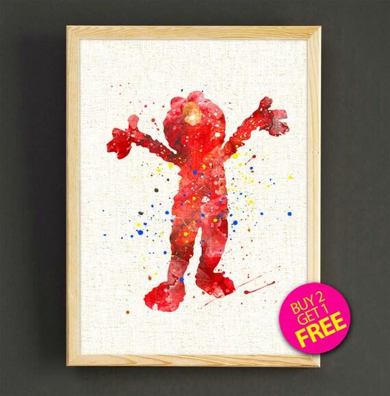 Elmo print Sesame Street watercolor print Elmo Poster