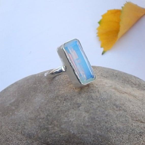 Opal Ring Cushion Cut Blue Opal Oplite Gemstone 925 Sterling