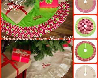 Monogrammed Christmas Tree Skirt