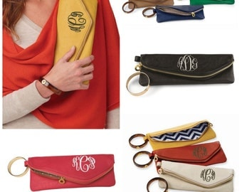 Monogrammed Leather Clutch ~ Mudpie Bangle Clutch