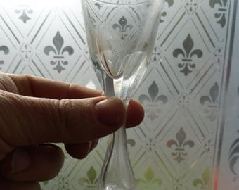 Antique Victorian cut glass sherry glass with hollow stem