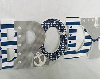 Nautical Letters Nursery Wooden Boy