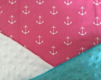 Personalized Minky Baby Blanket, Cotton Strawberry Pink Anchors Minky Baby Blanket