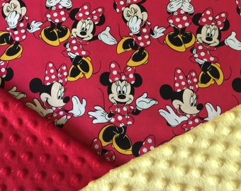 Personalized Disney Minnie Mouse Minky Baby Blanket