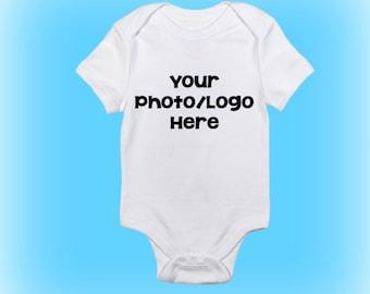 Custom Baby Bodysuit - Custom Bodysuit - Personalized Baby Bodysuit - Personalized Bodysuit - Photograph - Company Logo - New Baby Gift