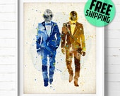 Daft Punk Watercolor Poster, Burlap Print, Music Home Decor, Room Wall Art, Wall Decor, Gifts, Not Framed, Buy 2 Get 1 Free! NA278