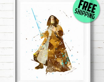 Star Wars Obi-Wan Kenobi print, Obi Wan print, Star Wars poster, Obi Wan poster, Star Wars print, Star Wars wall art, watercolor [290] decor