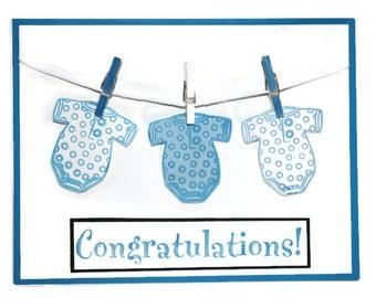 Handmade New Baby Card, Newborn, Baby Boy, Baby Girl, New Parents, Blank Inside, Baby putfit