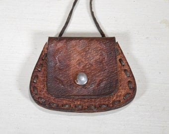 Vintage Wallet Leather Нecklace / Very Good Vintage Clutch / Purse with One Compartment / Handmade Coin Purse / Leather Coin Purse
