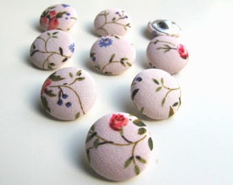 9 Pink fabric covered buttons 2 cm. Fabric covered pink shank buttons. Flatback fabric covered buttons. UK Seller