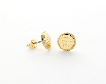Monogrammed Gold Plated Braided Stud Earrings