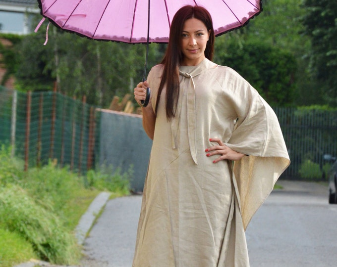 Extravagant Linen Maxi Dress, Asymmetrical Beige Long Dress, Woman Oversize Kaftan, Plus Size by SSDfashion