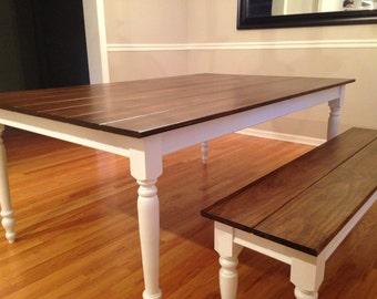 "Extra Wide Dark Walnut Farm Table with 2.75"" Legs"