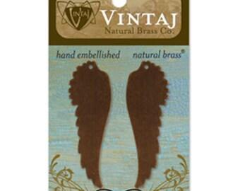 Wing Blanks Metal Stamping Blanks Angel Wings Natural Brass Bronze Vintaj Blanks 52mm 23 gauge