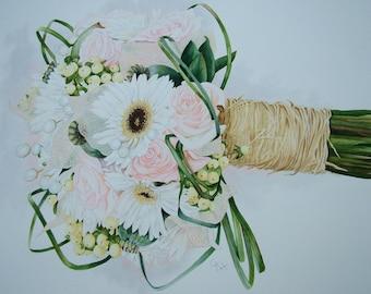 Custom Wedding Bouquet Watercolour Painting.