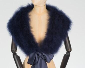 Marabou feather bridal wrap stole Navy